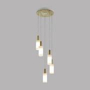 Hängeleuchte Oakham H: 150 cm 5-Flammig, Echtholz/Milchglas - Braun/Weiß, MODERN, Glas/Holz (37/150cm)