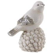 Dekovogel Silvio - Silberfarben/Weiß, KONVENTIONELL, Keramik (15,3cm) - Ombra