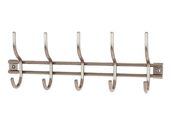 Hakenleiste Pippo - Edelstahlfarben, MODERN, Metall (38/14/8cm)