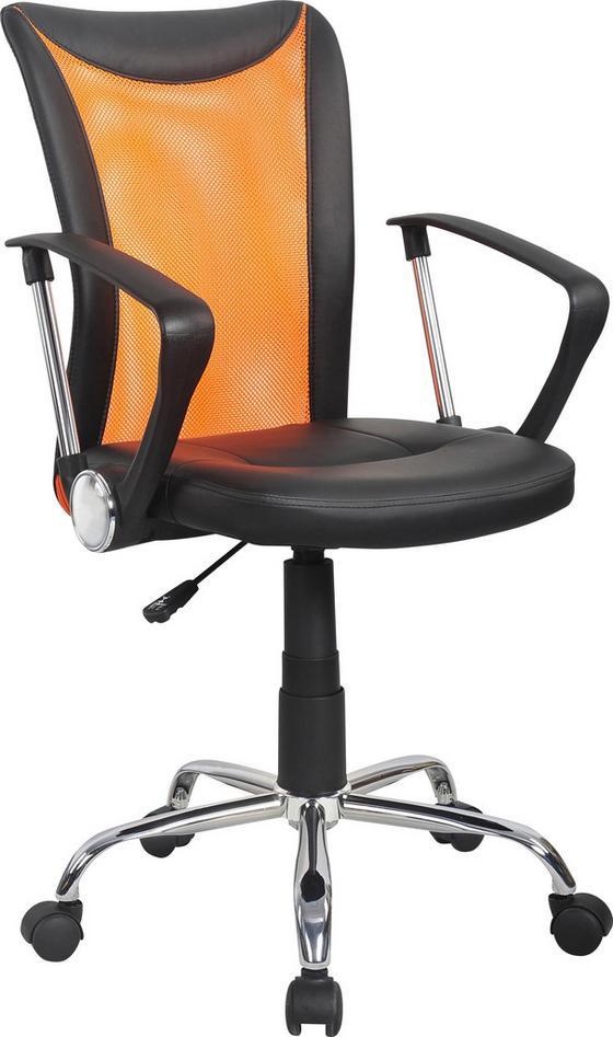 Otočná Stolička Vanessa - oranžová/čierna, Moderný, umelá hmota/kov (47/88,5-98,50/54cm)
