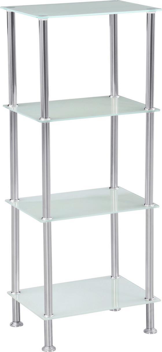 Polc Glare - fehér/nemesacél színű, modern, üveg/fém (40/99/30cm) - LUCA BESSONI