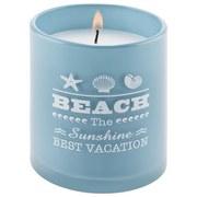 Kerze Im Glas Beach - Blau/Weiß, Basics, Glas (8/9cm) - Luca Bessoni