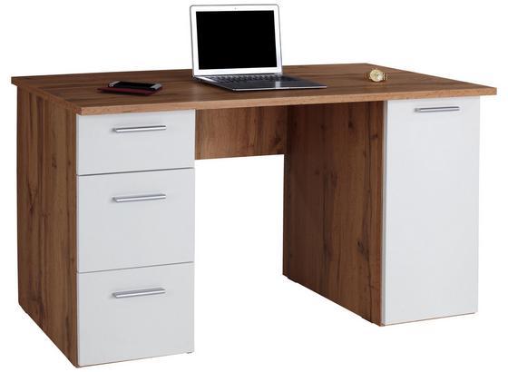 Schreibtisch mit Stauraum B 138cm H 76cm Mx 143 Eiche/Weiß - Eichefarben/Weiß, MODERN, Holzwerkstoff (138/76cm)
