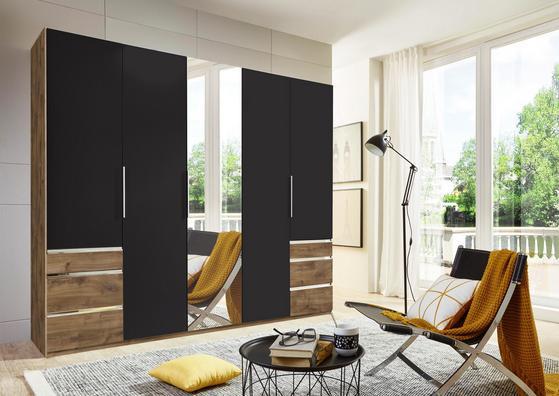 Fünftüriger Kleiderschrank in Graphit und Eiche Dekor mit Schubladen und Spiegel