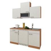 Miniküche Economy 150 cm Weiß - Eichefarben/Weiß, KONVENTIONELL, Holzwerkstoff (150cm) - MID.YOU