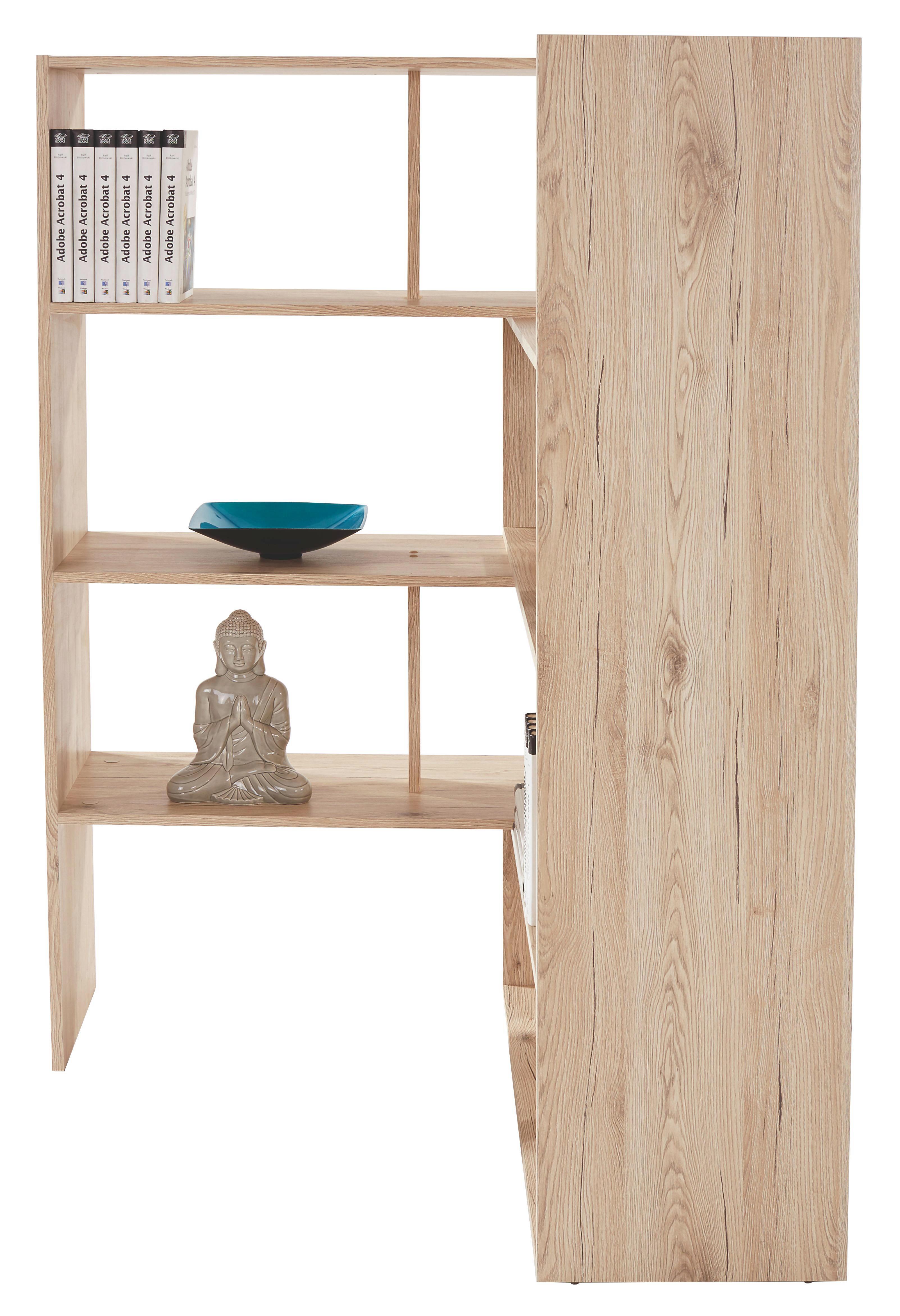 Regál Erich - barvy dubu, Moderní, dřevěný materiál (154/146,5/33,4cm)