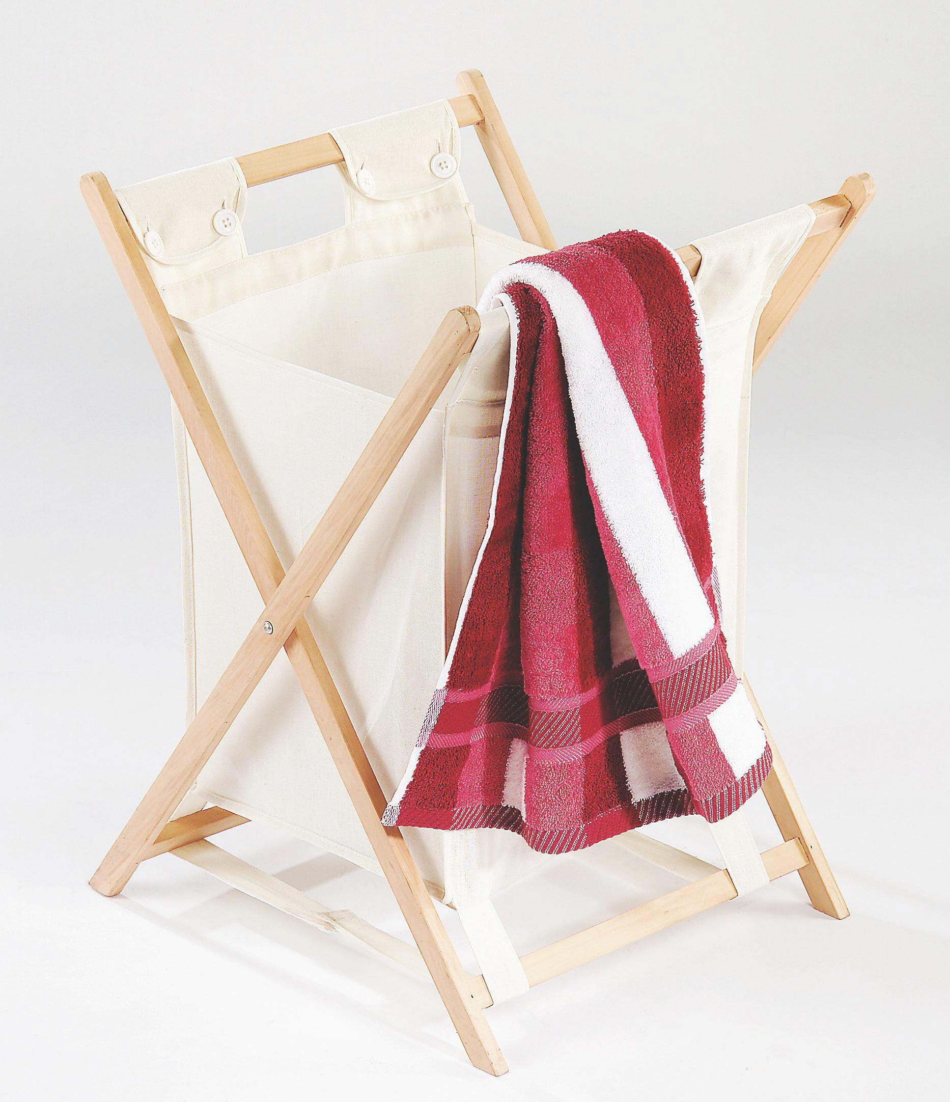 Koš Na Prádlo Cane - přírodní barvy, dřevo/textil (42/67/42cm)