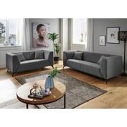 Dreisitzer-Sofa Tubione B: 200 cm Hellgrau - Hellgrau/Schwarz, MODERN, Textil (200/71/87cm) - Livetastic