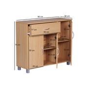 Sideboard B 90cm Jarry, Buche Dekor - Buchefarben/Grau, KONVENTIONELL, Holzwerkstoff (90/75/30cm) - Livetastic