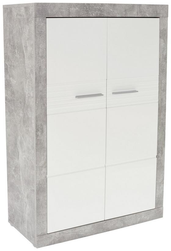 Komoda Highboard Malta - bílá/šedá, Moderní, kompozitní dřevo (96/132/35cm)