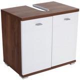 Waschbeckenunterschrank Bari B: 70cm, Weiß + Eiche Dekor - Eichefarben/Alufarben, KONVENTIONELL, Holzwerkstoff/Kunststoff (70/60/32cm)