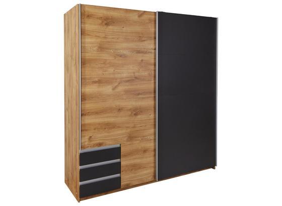 Schwebetürenschrank mit Schubladen 180cm Emden - Eichefarben/Graphitfarben, MODERN, Holzwerkstoff (180/198/64cm)