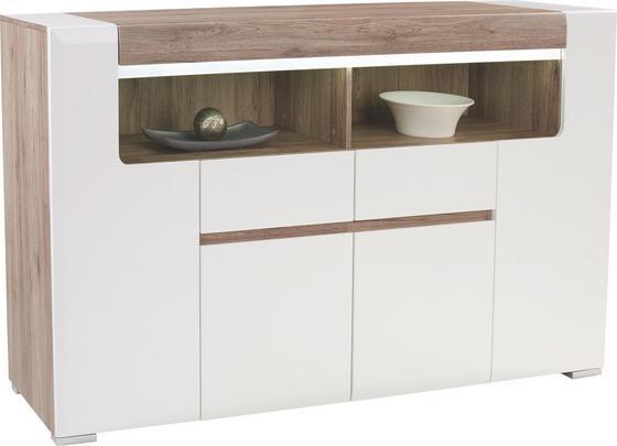 Komoda Highboard Toronto - bílá/barvy dubu, Moderní, dřevěný materiál (190/106,9/42,2cm) - Ombra