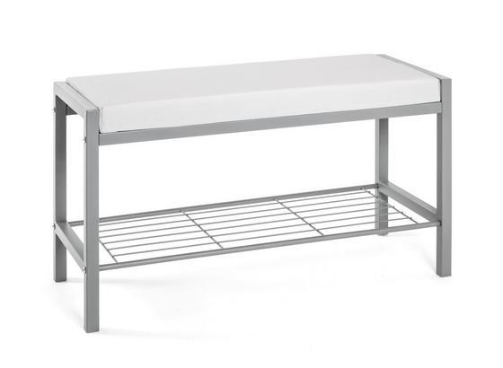 Garderobenbank Bench: B/H/T: ca. 80/48/32 cm - Alufarben/Weiß, Basics, Metall (80/48/32cm)