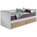 Stauraumbett Ausziehbar 90-180x200 Timmi, Bicolor - Buchefarben/Weiß, KONVENTIONELL, Holz/Holzwerkstoff (205/99-189/80cm)