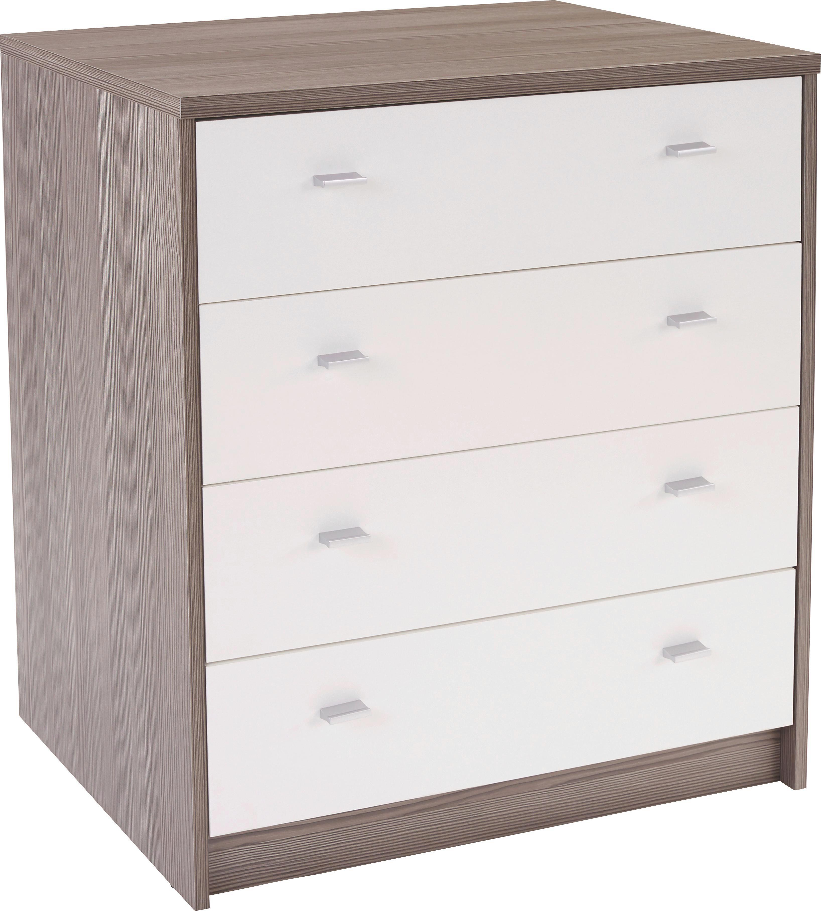 Komoda 4-you Yuk06 - bílá/tmavě hnědá, Moderní, dřevěný materiál (74/85,4/44,3cm)