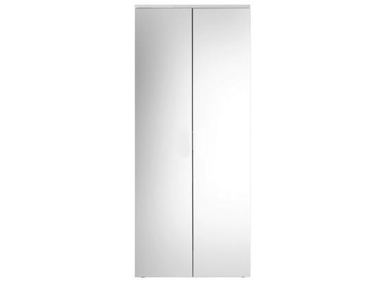 Schuhschrank Lincoln B: 80 cm Weiß - Weiß, Design, Glas/Holzwerkstoff (80/190/35cm) - Carryhome