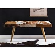 Sitzbank Salim: B: 120 cm Leder - Braun/Weiß, Natur, Fell (120/52/40cm) - MID.YOU