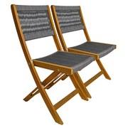 Gartensessel-Set Klappbar Massivholz, Polyester - Braun/Grau, Basics, Holz/Textil (43/90/52cm) - Ambia Garden