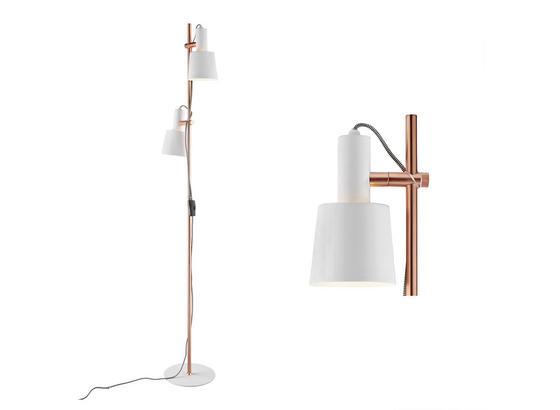 Stojacia Lampa Klara - medená/biela, Moderný, kov (30/23/152cm) - Modern Living