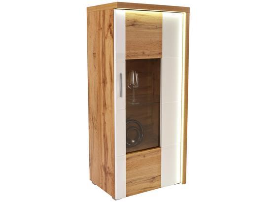 Vitrína Eleganza - farby dubu/biela, Moderný, kompozitné drevo/sklo (65/136.3/38cm)