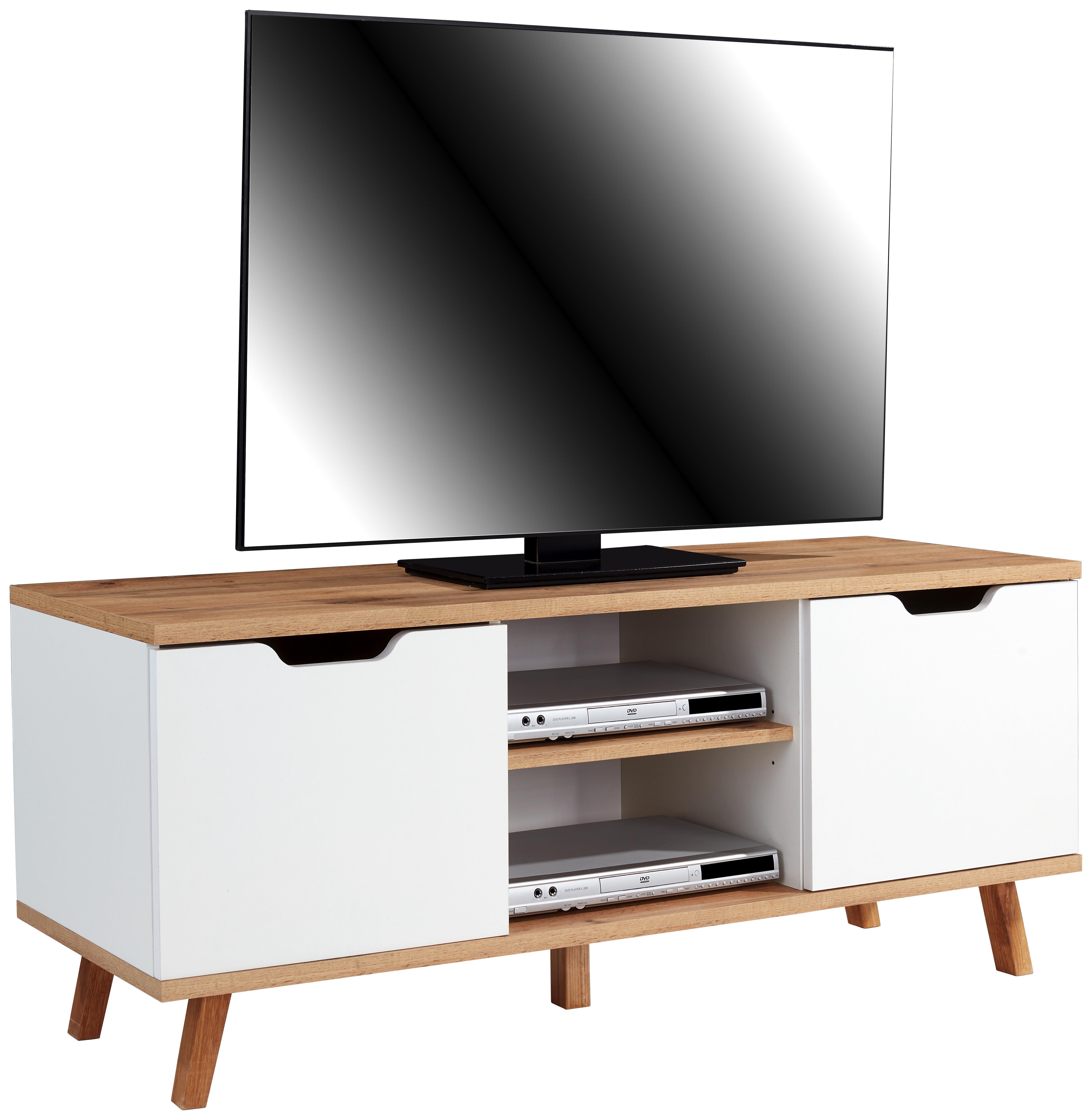 Phonotisch Turin 140cm Eiche Dekor/ Weiß - Eichefarben/Weiß, MODERN, Holzwerkstoff (140/55/40cm)