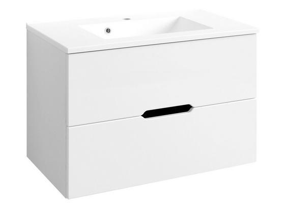 Waschtischunterschrank Belluno B:80 cm Weiß Hochglanz - Weiß, Basics, Holzwerkstoff/Stein (80/54/47cm)