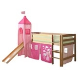 Spielbett Toby R 90x200 cm Pink - Pink/Naturfarben, Natur, Holz (90/200cm) - MID.YOU