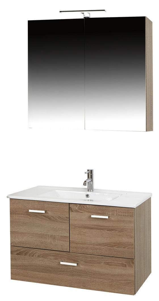 Kúpelňa Bergamo - farby dubu/biela, Konvenčný, kompozitné drevo/keramika (80/190/46cm)