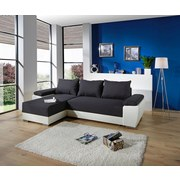 WOHNLANDSCHAFT MILANO - Chromfarben/Dunkelgrau, MODERN, Leder/Textil (270/90/160cm)