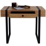 Schreibtisch Timber B: 90 cm Natur - Schwarz/Naturfarben, MODERN, Holzwerkstoff/Metall (90/76/45cm)