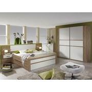 Bett inkl. Nachtkästchen+Laden 160x200 Bernau, Eiche/Weiß - Eichefarben/Weiß, MODERN, Holzwerkstoff/Textil (265/96/208cm)