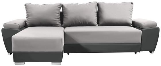 Wohnlandschaft in L-Form Milano 270x160 cm - Chromfarben/Dunkelgrau, Basics, Leder/Textil (270/90/160cm)