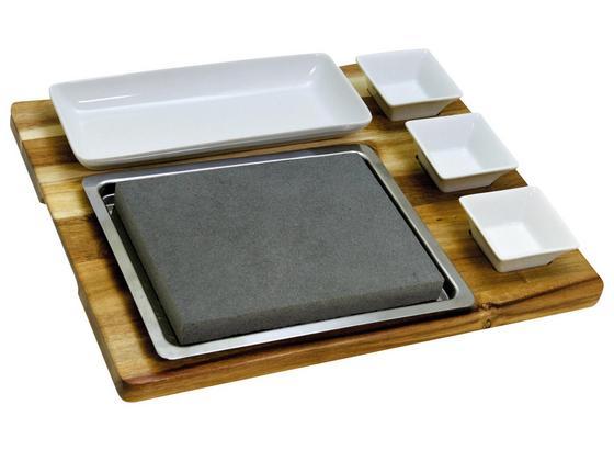 Servierplatte Lavastein 7-Teilig - Braun/Weiß, MODERN, Holz/Keramik (39/7,5/32cm) - Collini