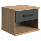 Nachtkästchen Liverpool - Eichefarben/Graphitfarben, Design, Holzwerkstoff (46/38/40cm) - MID.YOU