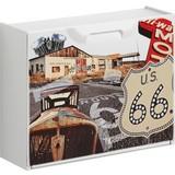 Schuhkipper Route 66/ 2 - Rot/Creme, MODERN, Kunststoff (51/40,1/17,3cm)