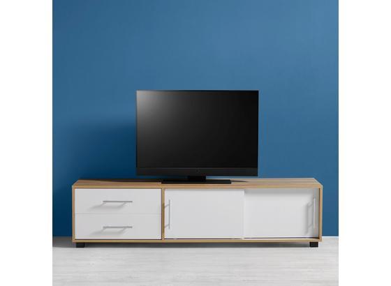 Tv-díl Lilja - bílá/barvy dubu, Moderní, kov/dřevo (160/40/40cm) - Mömax modern living