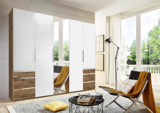 Fünftüriger Kleiderschrank in Weiß und Eiche Dekor mit Schubladen und Spiegel