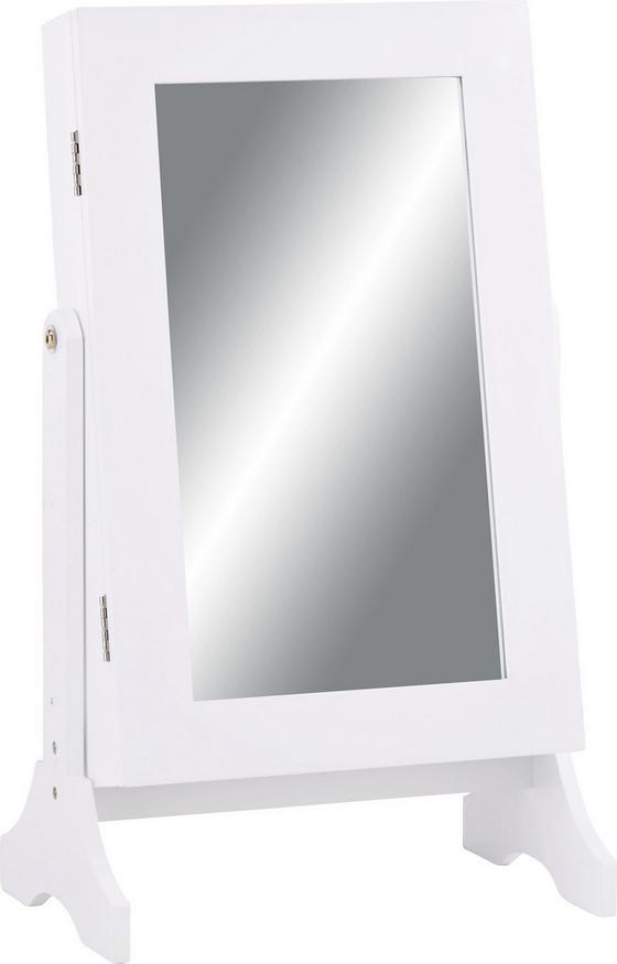 Skříňka Na Bižuterii Ela - bílá, Moderní, dřevěný materiál/sklo (35/60/23,3cm) - MÖMAX modern living