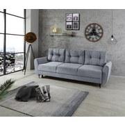 Sofa mit Schlaffunktion und Bettkasten Bella Webstoff - Hellgrau/Schwarz, MODERN, Kunststoff (230/91/90cm)