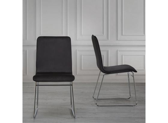 Stolička Vinzenz - čierna/chrómová, Moderný, kov/textil (46/89/53cm) - Mömax modern living
