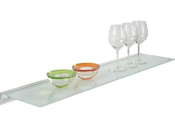 Glasablage Larry B:80cm Sicherheitsglas, Transparent - Alufarben/Weiß, MODERN, Glas/Kunststoff (80/20/4,8cm) - Homezone
