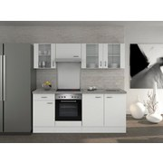 Küchenblock Wito 210cm Weiß - Edelstahlfarben/Weiß, MODERN, Holzwerkstoff (210/60cm) - Bessagi Home