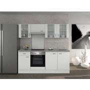 Küchenblock Wito 210cm Weiß - Edelstahlfarben/Weiß, MODERN, Holzwerkstoff (210/60cm)