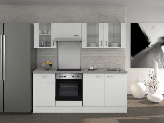 Küchenblock wito 210cm weiß edelstahlfarben weiß modern holzwerkstoff 210 60cm