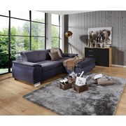 Wohnlandschaft L-form Verona 265x180cm - Chromfarben/Dunkelgrau, LIFESTYLE, Holz/Kunststoff (265/180cm) - Ombra