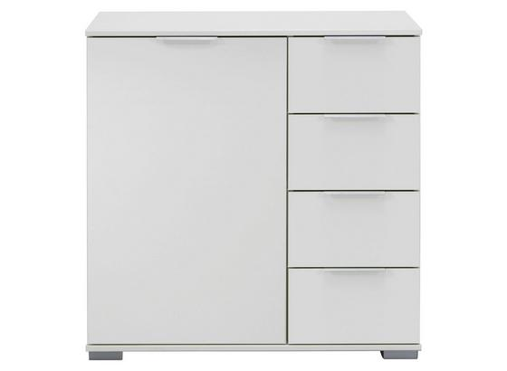 Kommode Nadja B: ca. 81 cm - Silberfarben/Weiß, KONVENTIONELL, Holzwerkstoff (81/83/41cm) - Cantus