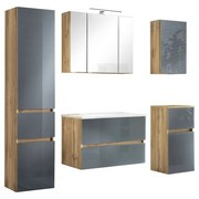 Badmöbel-Set 5-Tlg. inkl. Led Helsinki, Weiß/Eiche - Eichefarben/Grau, KONVENTIONELL, Glas/Holzwerkstoff (160ml) - MID.YOU