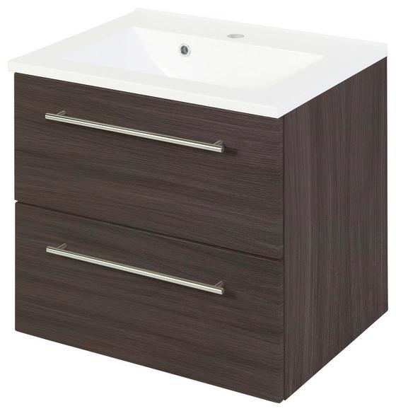 Waschtischkombi Mailand 60 cm Eiche Dekor - Eichefarben/Weiß, MODERN, Holzwerkstoff/Kunststoff (60/54/47cm)