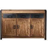 Sideboard 09203-01 B: 140 cm Naturfarben - Schwarz/Naturfarben, Basics, Holz/Metall (140/90/40cm)